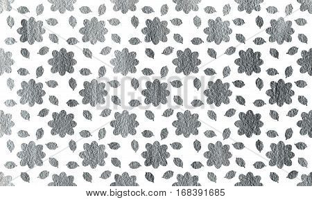 Silver Flowers With Leaves On White Background.