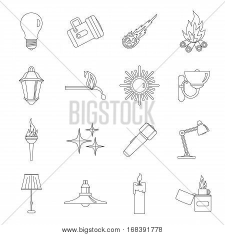 Light source symbols icons set. Outline illustration of 16 light source symbols items vector icons for web