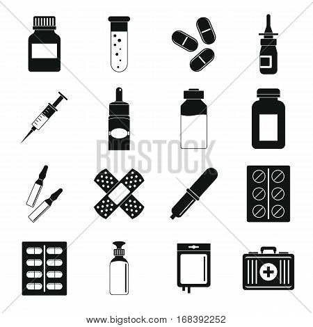 Different drugs icons set. Simple illustration of 16 different drugs vector icons for web