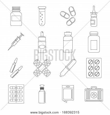 Different drugs icons set. Outline illustration of 16 different drugs vector icons for web