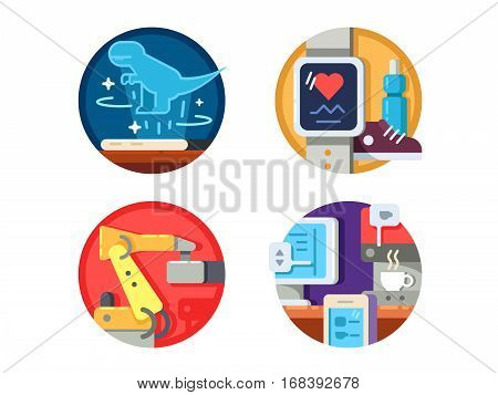 Modern technology set. Hologram and wireless control. Vector illustration. Pixel perfect icons size - 128 px