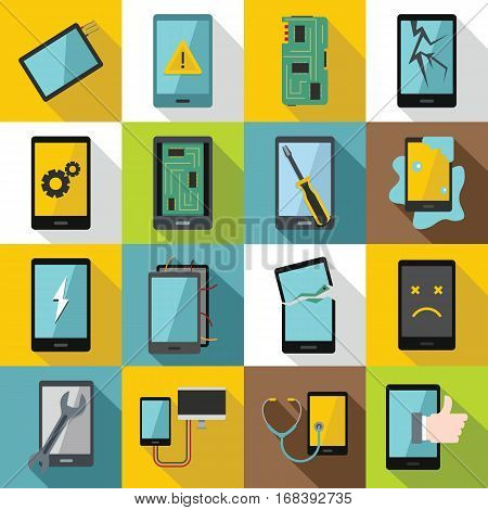 Device repair symbols icons set. Flat illustration of 16 device repair symbols vector icons for web