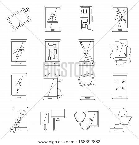 Device repair symbols icons set. Outline illustration of 16 device repair symbols vector icons for web