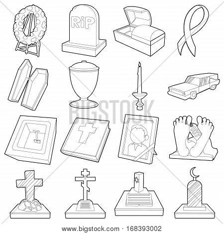Funeral icons set. Outline illustration of 16 funeral vector icons for web