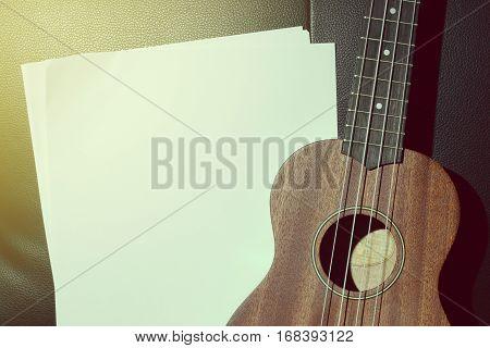 Ukulele and Blank Music Paper Notes Vintage Style