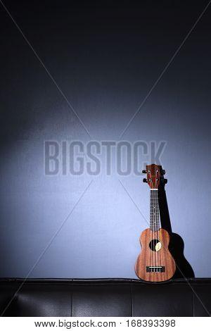 Ukulele on Gray Background and Blank Music Paper Notes.