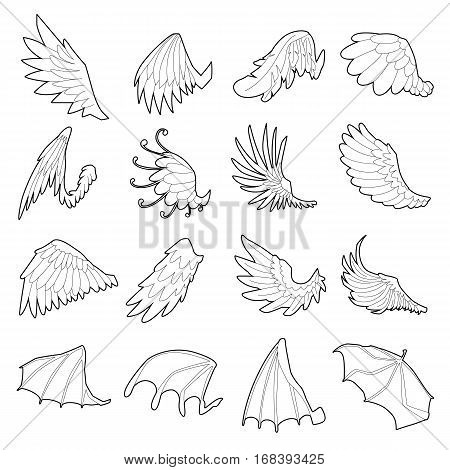 Different wings icons set. Outline illustration of 16 different wings vector icons for web