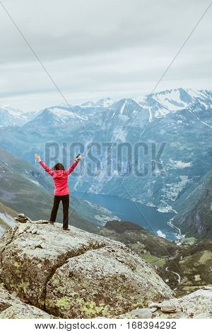 Tourist Woman On Dalsnibba Viewpoint Norway