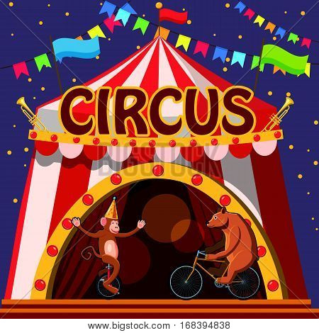 Circus animals show tent concept. Cartoon illustration of circus animals show tent vector concept for web
