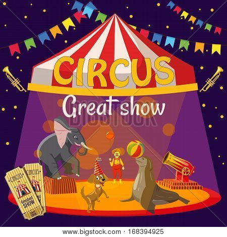 Great circus show concept. Cartoon illustration of circus great circus show vector concept for web