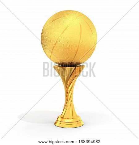 Golden Trophy With Basket  Ball