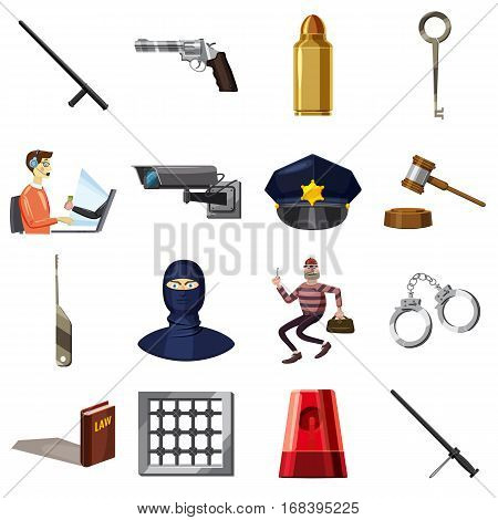Criminal symbols icons set. Cartoon illustration of 16 criminal symbols vector icons for web