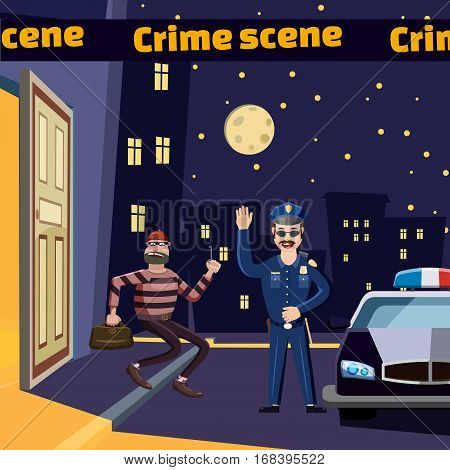 Criminal scene catch a thief concept. Cartoon illustration of criminal scene catch a thief vector concept for web