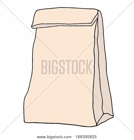 Brown paper lunch bag. Hand drawn sketchy craft paper food bag. Vector illustration.