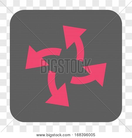 Centrifugal Arrows interface toolbar button. Vector icon style is a flat symbol in a rounded square button pink and gray colors chess transparent background.