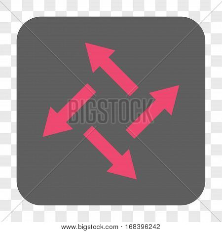 Centrifugal Arrows interface toolbar button. Vector icon style is a flat symbol inside a rounded square button pink and gray colors chess transparent background.