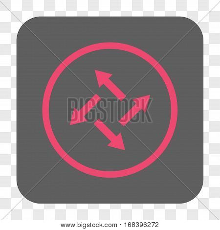 Centrifugal Arrows interface toolbar button. Vector icon style is a flat symbol on a rounded square button pink and gray colors chess transparent background.