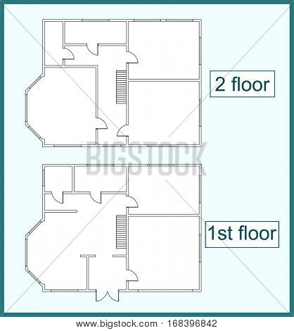 Abstract vector plan of the first and second floors of a two-storey house