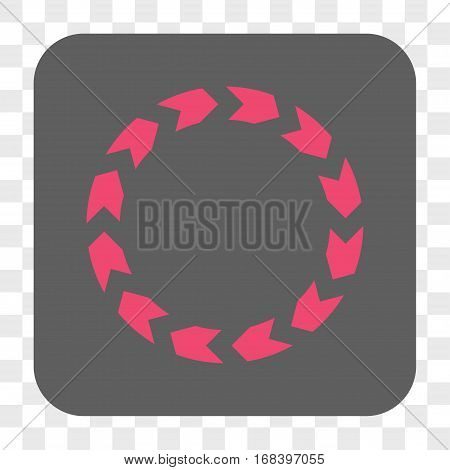 Circulation interface toolbar button. Vector icon style is a flat symbol inside a rounded square button pink and gray colors chess transparent background.