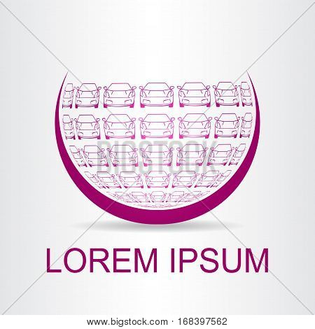 Logo stylized spherical surface with car symbol shapes. Template for logotype.