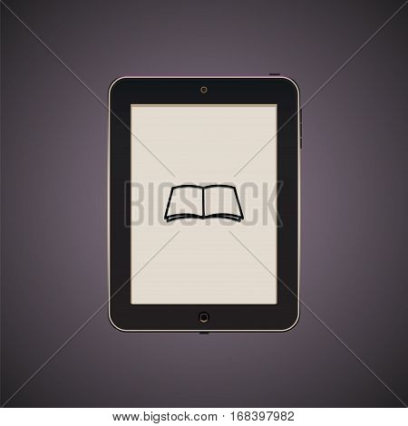 Black tablet with icon. Illustration of reader. Vector isolated