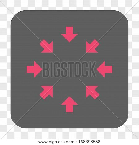 Compact Arrows interface toolbar button. Vector icon style is a flat symbol in a rounded square button pink and gray colors chess transparent background.