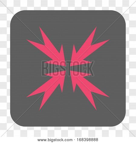 Compression Arrows interface toolbar button. Vector icon style is a flat symbol in a rounded square button pink and gray colors chess transparent background.