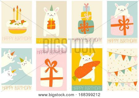 Collection of banner, background, flyer, placard with cute rabbits. Birthday poster set for scrapbooking. Vector template card for greeting, decorations, congratulations in retro pastel color