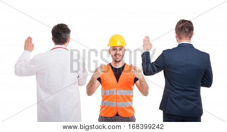 Engineer Holding Fingers Crossed For Luck
