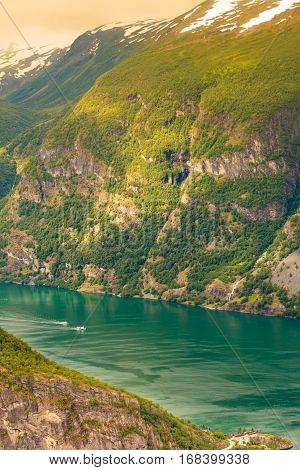 Cruise Ship On Norwegian Fjord