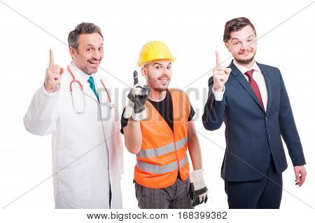 Cheerful Group Of Medic, Lawyer And Builder