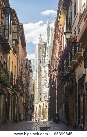 LEON, SPAIN - JULY 26, 2016: Leon (Castilla y Leon Spain): exterior of the medieval cathedral in gothic style: facade