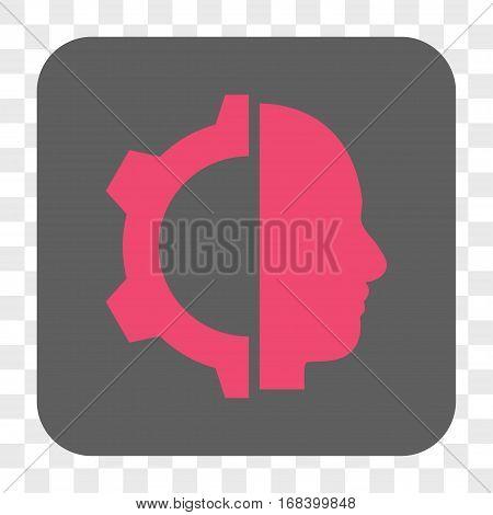 Cyborg Gear interface toolbar button. Vector icon style is a flat symbol in a rounded square button pink and gray colors chess transparent background.