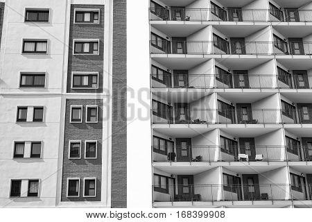 Barcelona (Catalunya Spain): residential buildings in the Avinguda del Paral-lel. Black and white