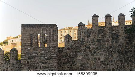 Toledo (Castilla-La Mancha Spain): the medieval walls at evening