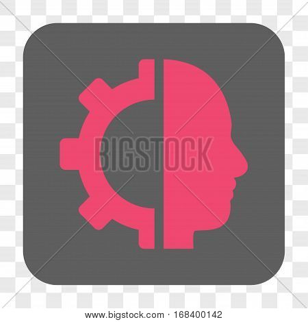 Cyborg Gear interface toolbar button. Vector icon style is a flat symbol on a rounded square button pink and gray colors chess transparent background.