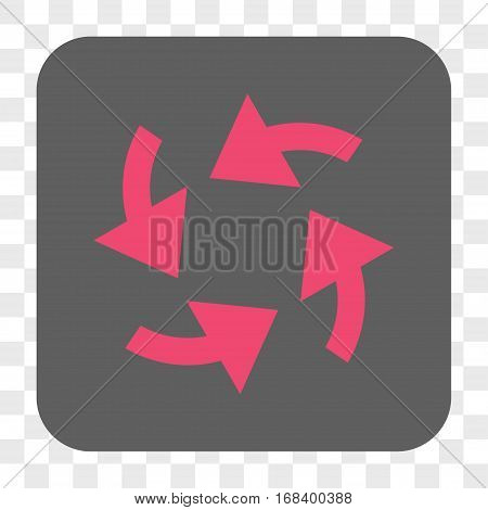 Cyclone Arrows interface toolbar button. Vector icon style is a flat symbol on a rounded square button pink and gray colors chess transparent background.