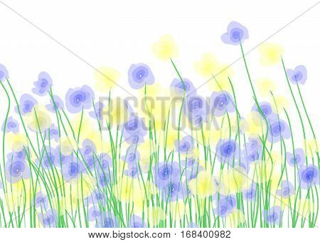 Yellow and blue wildflowers. Vector sping background