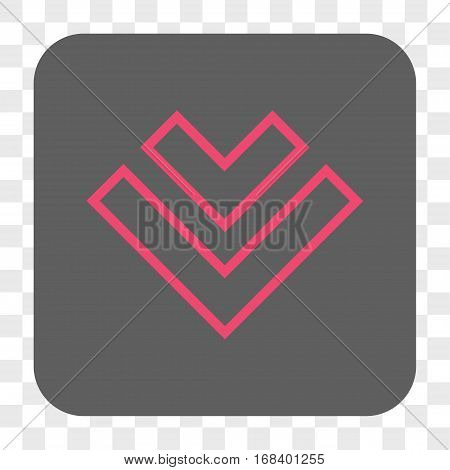 Direction Down interface toolbar button. Vector icon style is a flat symbol in a rounded square button pink and gray colors chess transparent background.