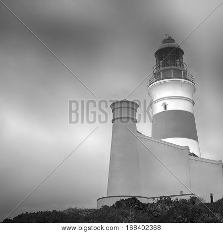 In South Africa Coastline  And Lighthouse