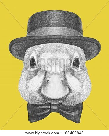 Portrait of Duck with hat and bow tie. Hand drawn illustration.