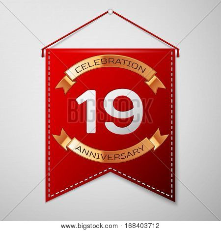 Red pennant with inscription Nineteen Years Anniversary Celebration Design over a grey background. Golden ribbon. Colorful template elements for your birthday party. Vector illustration