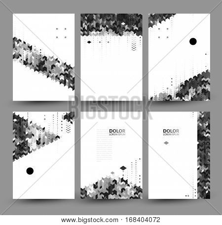 Vector set of six monochromatic backgrounds, created from simple polygons and geometric figures. Advertising posters or banners design with modular grayscale elements.