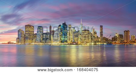 Panoramic view - Evening Lights of Famous Manhattan Skylines, New York City, USA - Big size