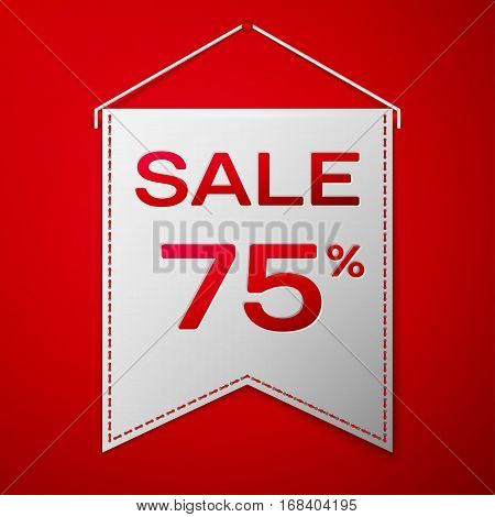 Grey pennant with inscription sale seventy five percent Discounts over a red background. Sale concept for shops store market, web and other commerce. Vector illustration.