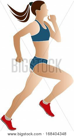 colored silhouette woman athlete runners in sports wear