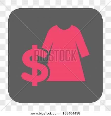 Dress Price interface toolbar button. Vector icon style is a flat symbol on a rounded square button pink and gray colors chess transparent background.