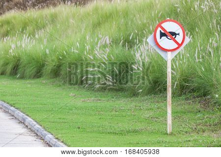 The warning sign do not use vehicle horn with flowering grass background of green golf course objective for do not disturbing golf players.