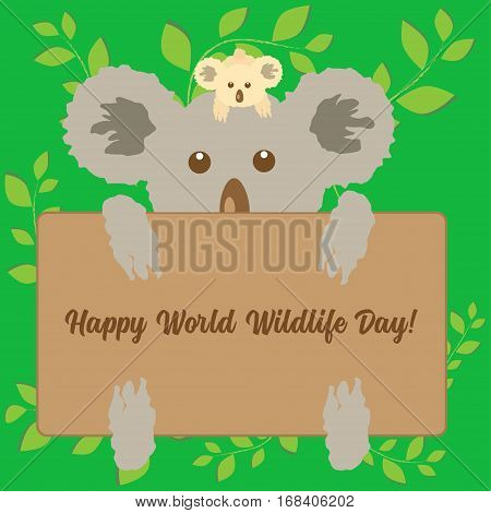 Little beige koala sitting on the head of big grey Australian bear holding message board on abstract green floral background. Can be used as greeting card or banner template.