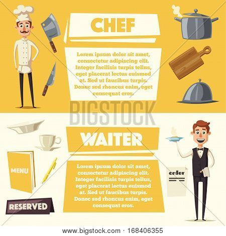 Funny chef, cute character. Vector cartoon illustration. serving the dish. Fat man in hat. Banner and poster